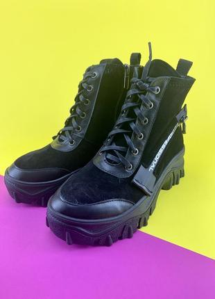 Модные ботинки из натуральной замши на меху