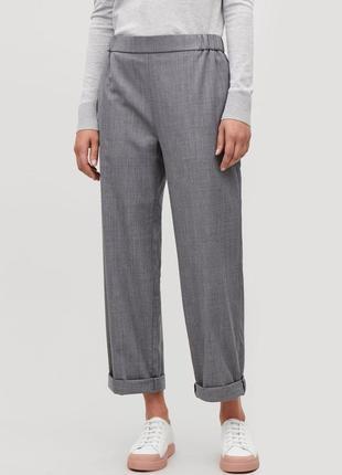 Фирменные базовые шерстяные прямые брюки на резинке, 100% шерсть супер качество!!! cos