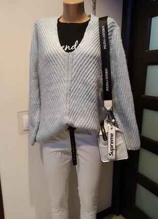 Стильный брэндовый теплый свитер джемпер пуловер оверсайз