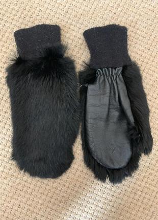Перчатки варежки натуральный мех кролик не норка натуральная кожа