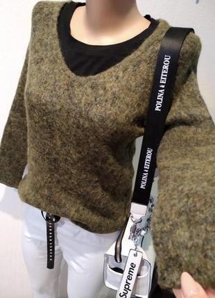 Натуральный мохер стильный брэндовый теплый джемпер свитер пуловер а