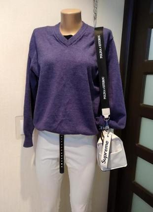 100% меринос  стильный брэндовый джемпер пуловер свитер из