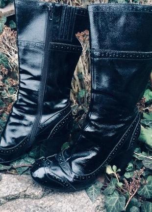 Лаковые сапоги braska на высоком удобном каблуке