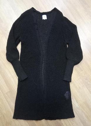 Стильный, теплый, вязанный, длинный кардиган - пальто черного цвета.  бренд only