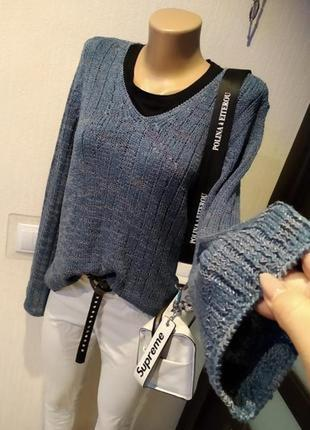 Стильный брэндовый тонкий джемпер свитер пуловер