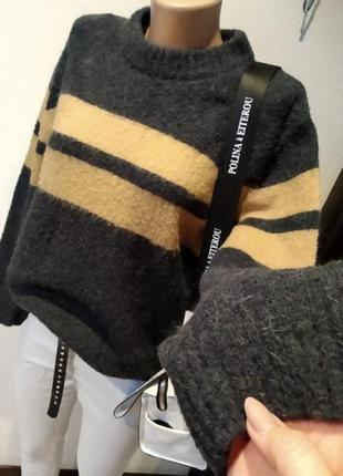 Стильный брэндовый теплый джемпер свитер пуловер оверсайз мягкий