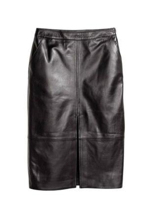 Натуральная кожаная юбка миди