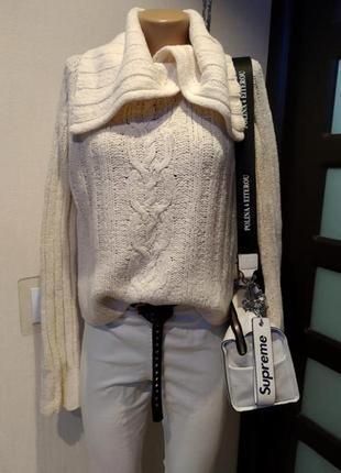 Стильный брэндовый теплый джемпер свитер пуловер белый