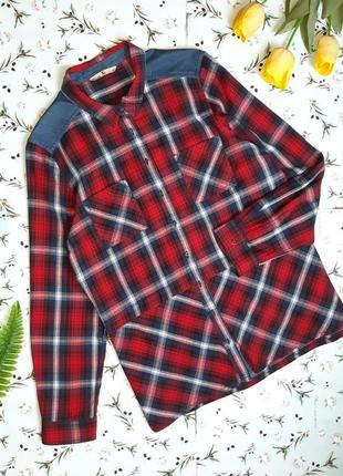 🌿1+1=3 стильная красная рубашка блуза в клетку tu с длинным рукавом, размер 50 - 52