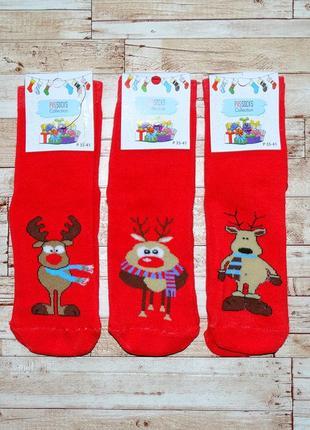Красивые новогодние махровые носочки с тематическим принтом. цена за 1 пару