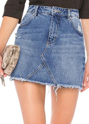 Синяя джинсовая юбка повседневная девушка ковбой высокой талией линии юбки карманы кнопки