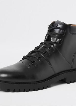 Черные кожаные ботинки river island !