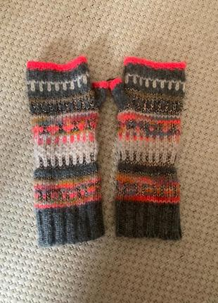 Перчатки митенки вязаные варежки accessorize