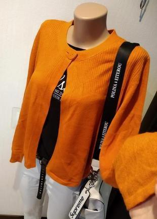 Стильный брэндовый теплый кардиган кофта джемпер оранжевого цвета