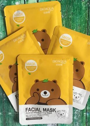 Тканевая маска с экстрактом зеленого чая bioaqua mask animal🐻