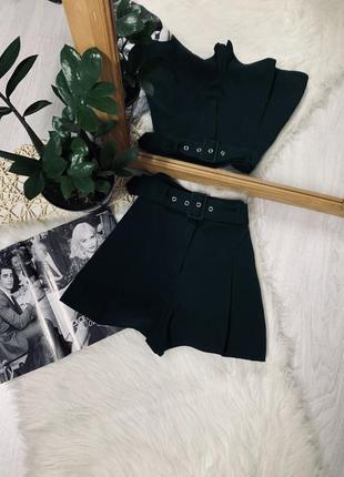 Шорти смарагдового кольору з ремінем від new look🌿