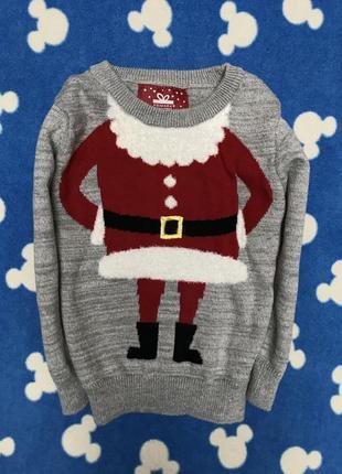 Новогодний свитер на малыша 12-18 мес, рост 86, состояние как новый