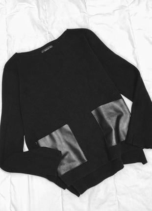 Джемпер с кожаными накладными карманами zara