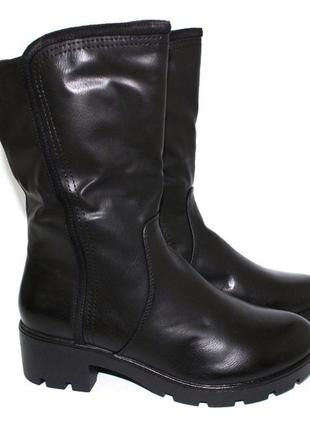 Зимние черные женские корткие сапоги полусапоги низкий каблук