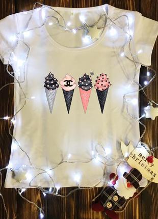 Женская футболка  с принтом - мороженое рожок