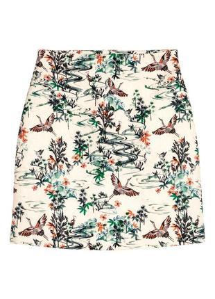 Стильная жаккардовая юбка трапеция в птичках от h&m