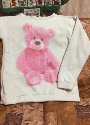 Супер свитшот розовый мишка топ шоп