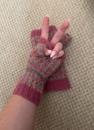 Перчатки митенки 69% шерсти accessorize