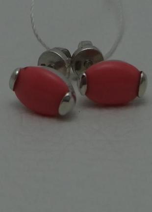 """Серебряные серьги-гвоздики """"светлячок"""" с розовым кораллом"""