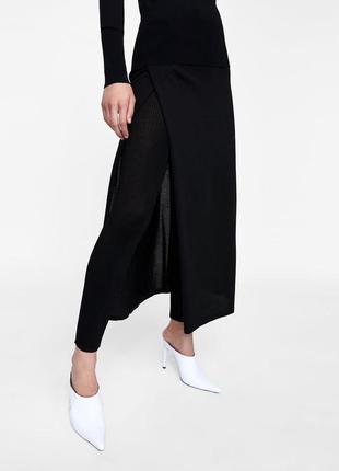 Комплект парео юбка миди с трикотажными леггинсами zara knit