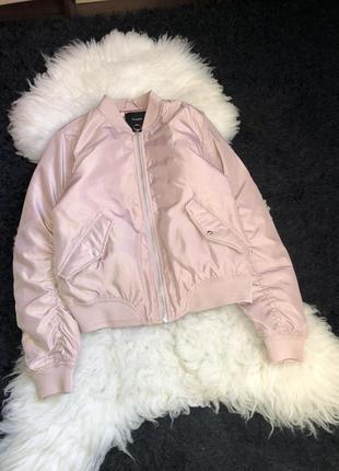 Бомбер манжеты куртка утеплённый пудровый атлас pull