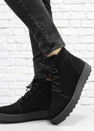Замшевые зимние ботинки sc. черные.