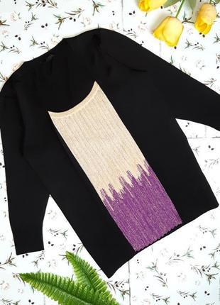 🌿1+1=3 нарядный черный свитер с рукавом 3/4 julien macdonald, размер 48 - 50