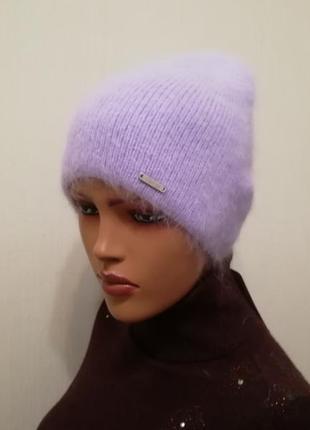 Молодёжная шапка ангора фиалка