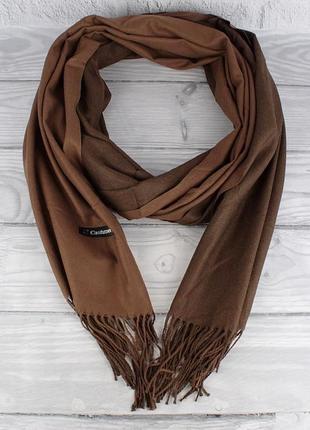 Кашемировый двусторонний шарф, палантин коричневый