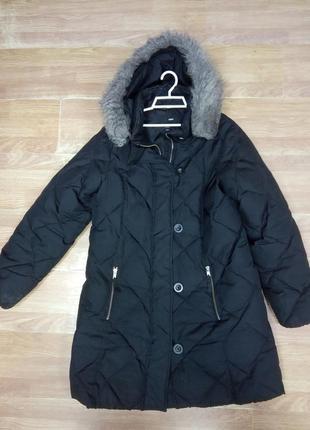 Брендовое, зимнее, стеганое пальто, пуховик с капюшоном на меху. бренд h&m