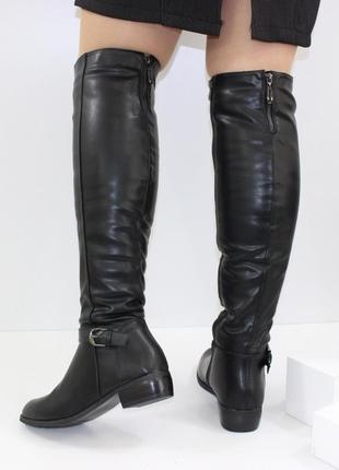 Женские зимние черные высокие сапоги ботфорты низкий каблук