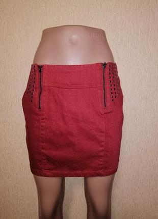🔥🔥🔥стильная короткая красная джинсовая женская юбка cliillin🔥🔥🔥