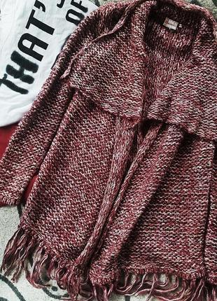 Теплая нарядная кофта накидка
