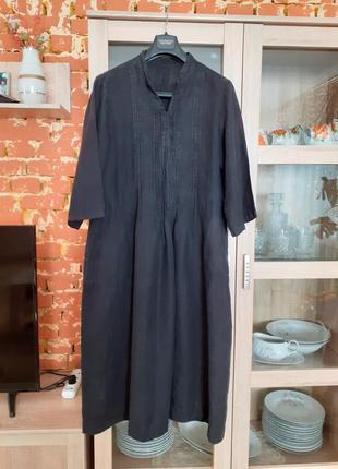 Классное стильное льняное платье с карманами большого размера