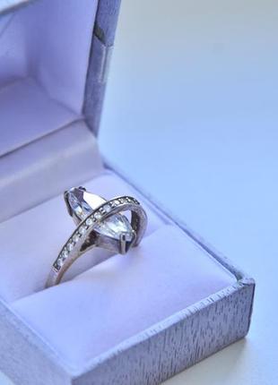 Кольцо с крупным прозрачным фианитом, серебро 925, 18 размер
