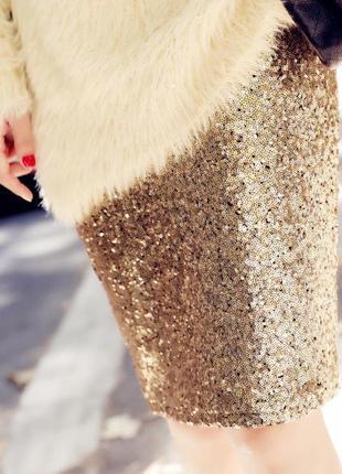 Шикарная юбка в паетки от esmara хайди клум р 38 с-м