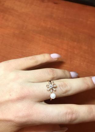 Кольцо позолота с жемчугом