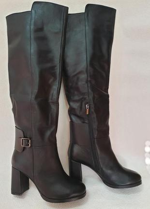 Зимние кожаные высокие сапожки venison , 40 размер