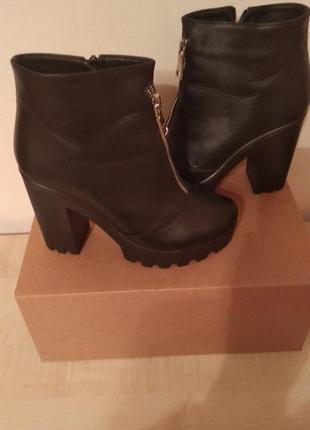Стильные зимние ботинки кожа