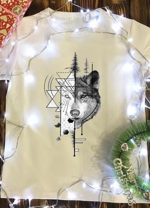 Мужская футболка с принтом - волк арт