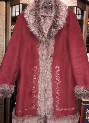 Теплое стильное зимнее пальто под дубленку 20рр essence