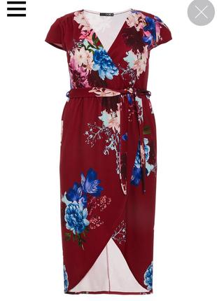 Миди платье на запах с цветочным принтом