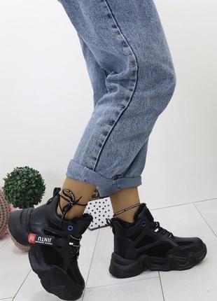 Новые шикарные женские зимние черные кроссовки ботинки