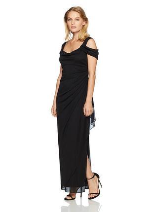 Черное вечернее платье в пол 10р (usa) из шифона с  акцентными рукавами и декольте