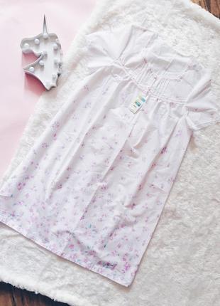 Белая хлопковая ночнушка(рубашка/сорочка) в цветы